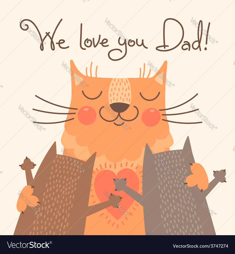 Sweet card for fathers day with cats vector | Price: 1 Credit (USD $1)