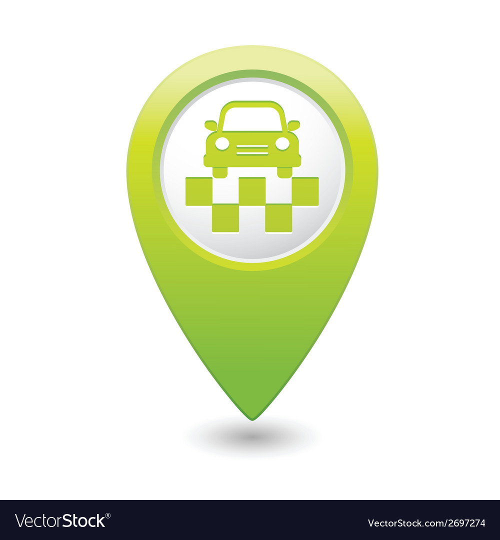 Taxi symbol map pointer green vector | Price: 1 Credit (USD $1)