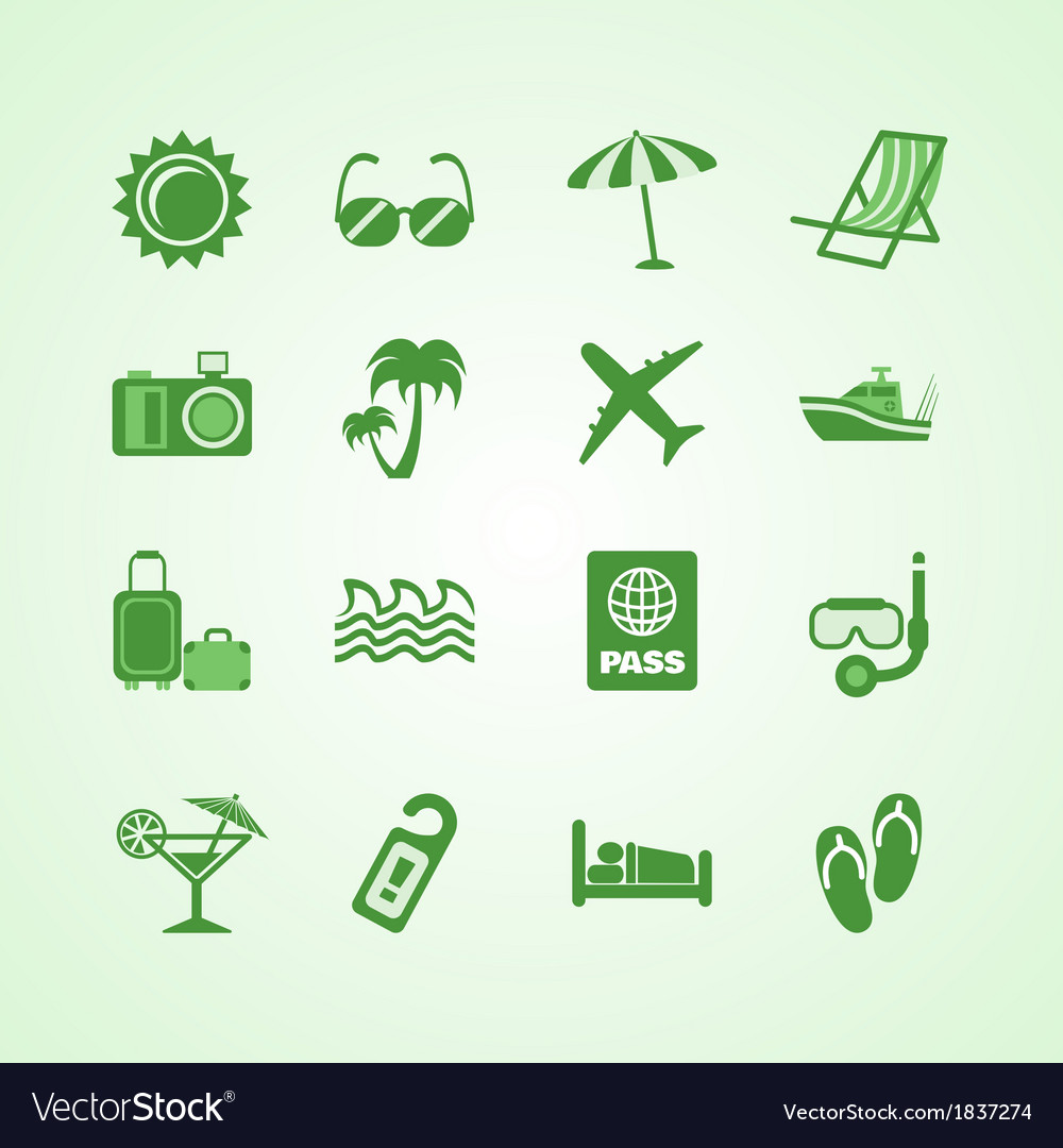 Vacation travel green icons set vector | Price: 1 Credit (USD $1)