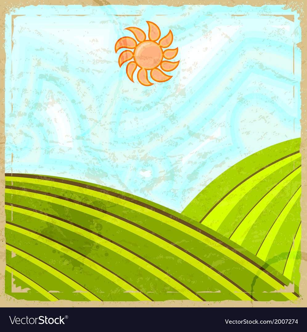 Vintage card with the image of the rural landscape vector | Price: 1 Credit (USD $1)