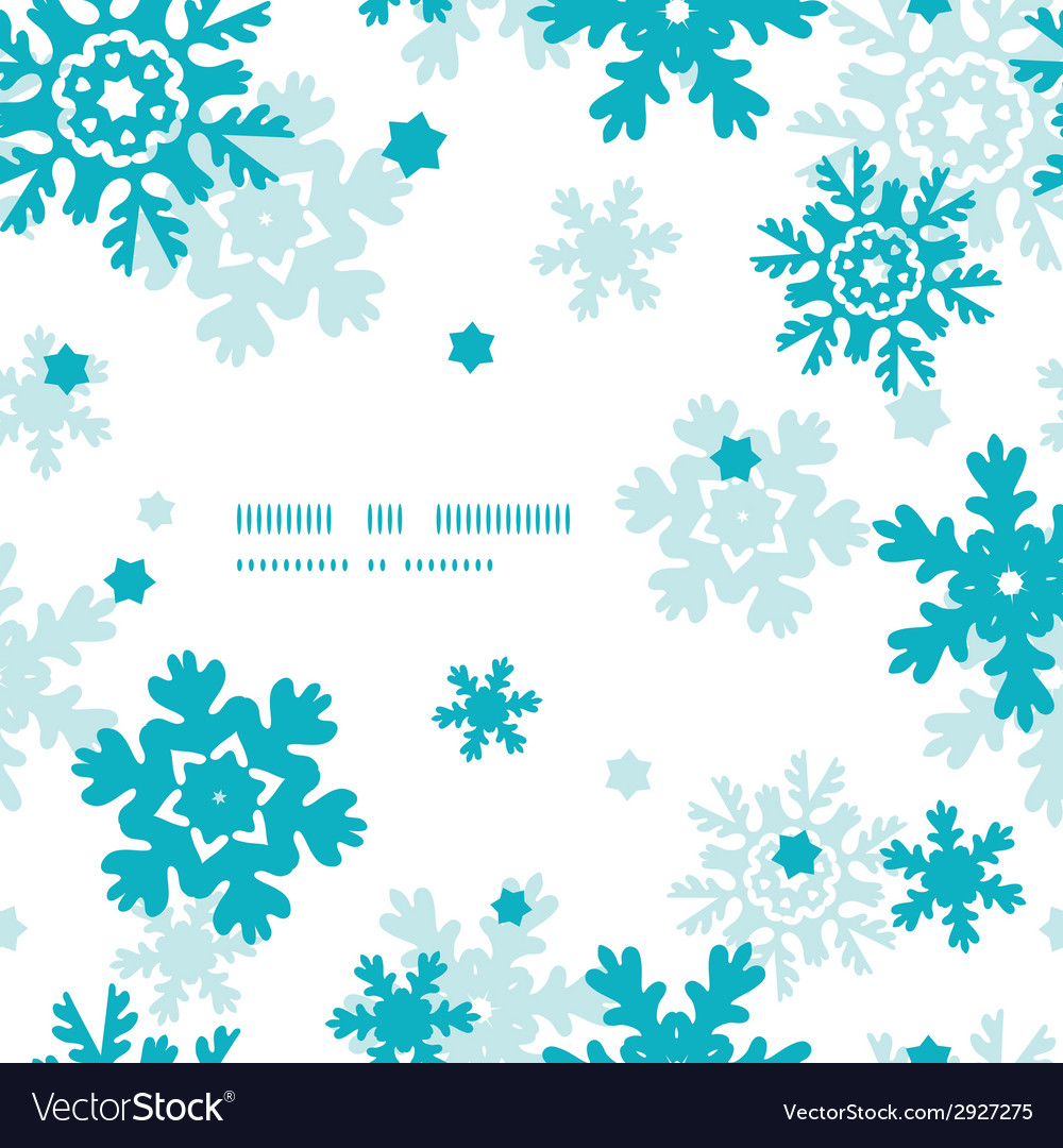 Blue frost snowflakes frame seamless pattern vector   Price: 1 Credit (USD $1)