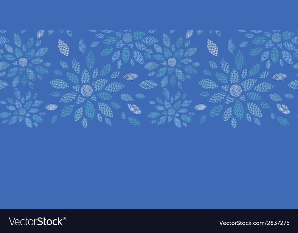 Blue textile peony flowers horizontal seamless vector | Price: 1 Credit (USD $1)