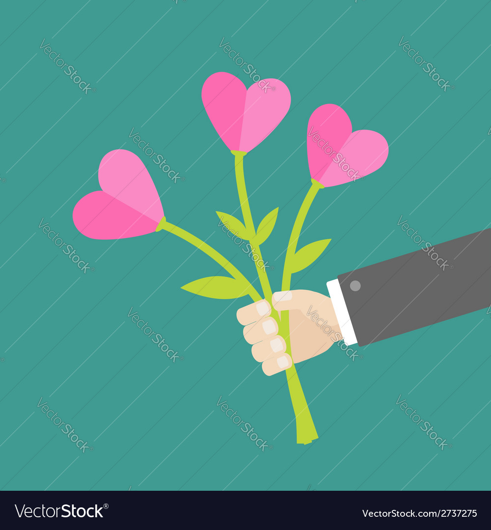 Businessman hand holding bouquet of heart flowers vector | Price: 1 Credit (USD $1)