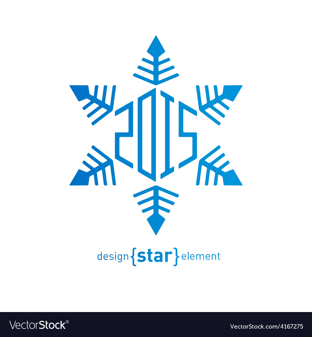 Original snowflake with new year date on white vector | Price: 1 Credit (USD $1)