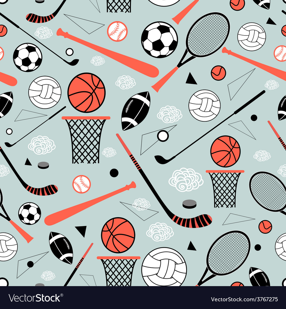 Pattern of sporting goods vector | Price: 1 Credit (USD $1)