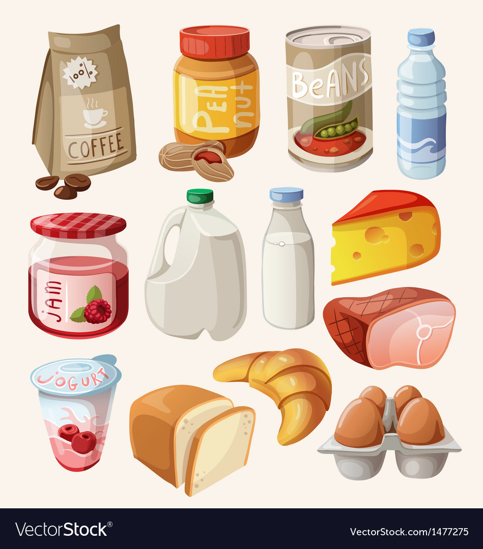 Set of food and products that we eat every day vector | Price: 3 Credit (USD $3)