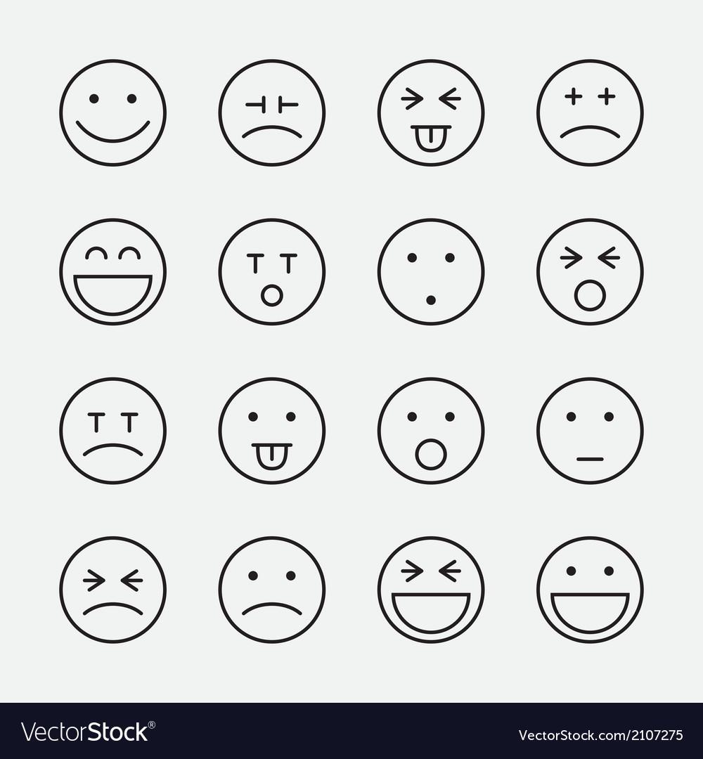 Smiley faces line icon set vector | Price: 1 Credit (USD $1)