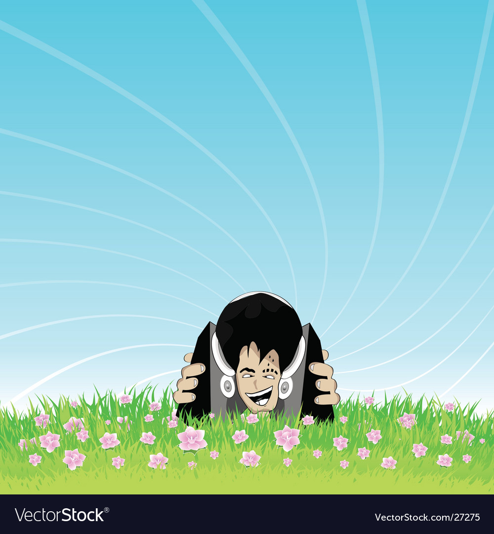 Smiling face deejay nature enjoyment vector | Price: 3 Credit (USD $3)