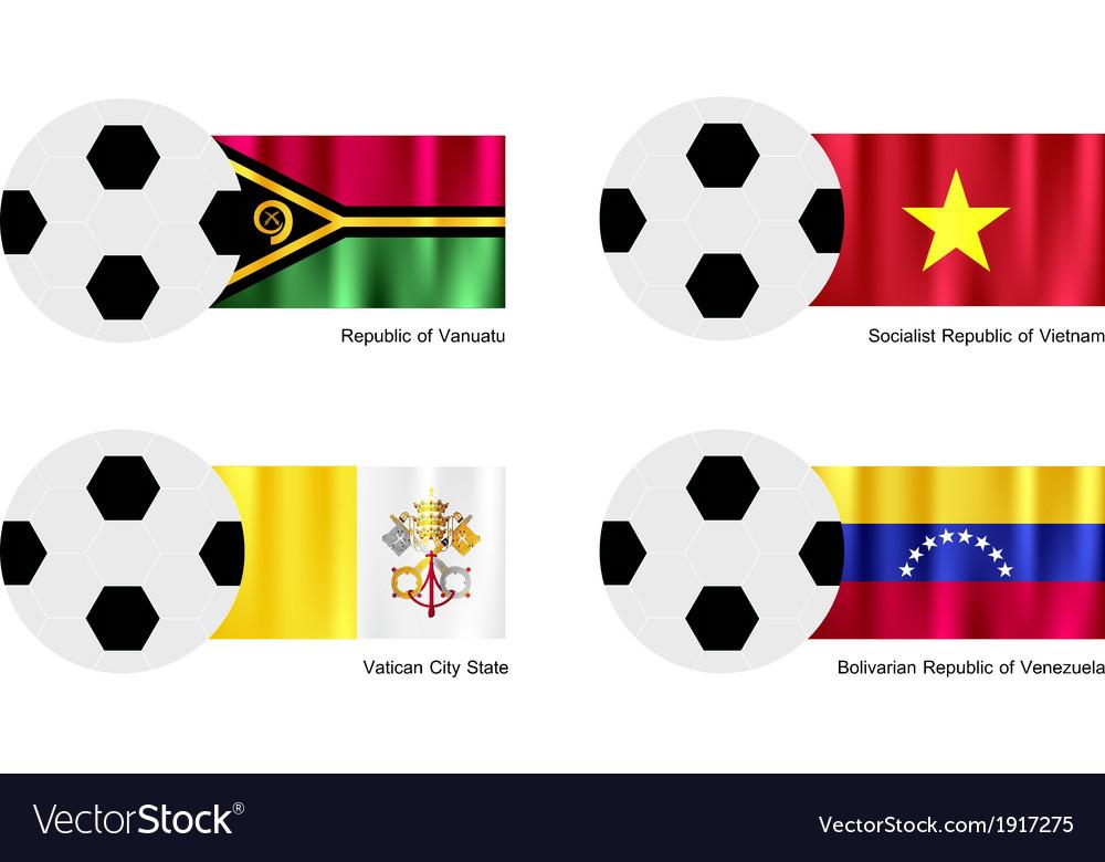 Soccer ball with vanuatu vietnam vatican flag vector | Price: 1 Credit (USD $1)