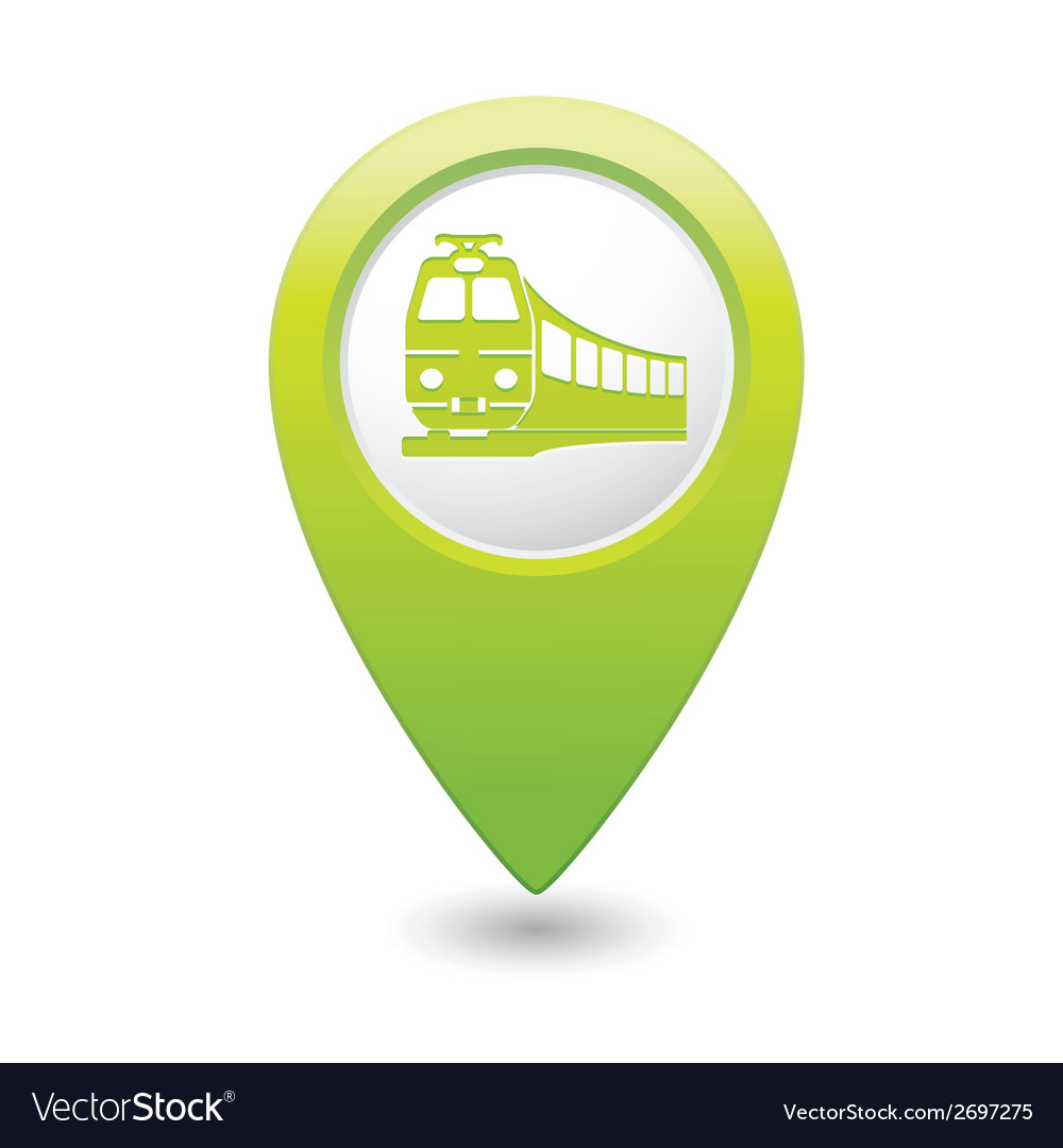 Train icon on map pointer green vector | Price: 1 Credit (USD $1)