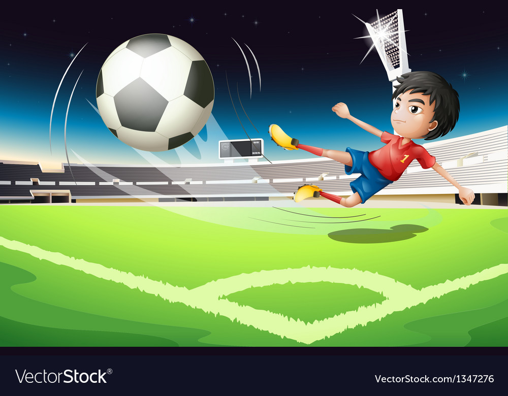 A football player kicking a ball vector