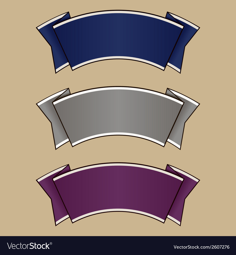 Blue gray and purple ribbon set vector | Price: 1 Credit (USD $1)