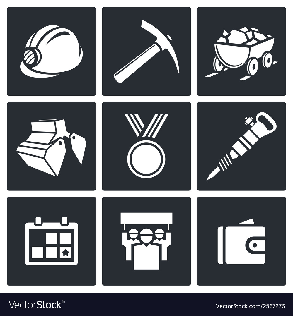 Coal industry icons set vector | Price: 1 Credit (USD $1)