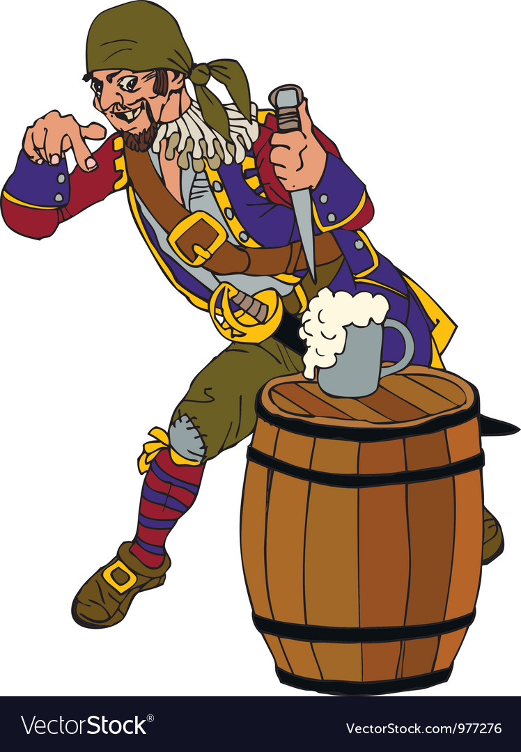 Drunk pirate on a barrel of rum vector | Price: 1 Credit (USD $1)