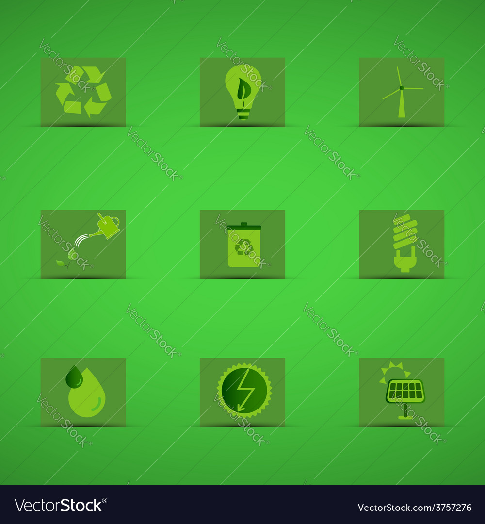 Eco friendly icon set in green design on green vector | Price: 1 Credit (USD $1)