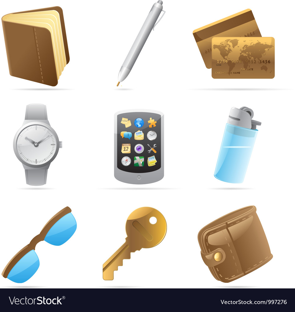 Icons for personal belongings vector | Price: 1 Credit (USD $1)