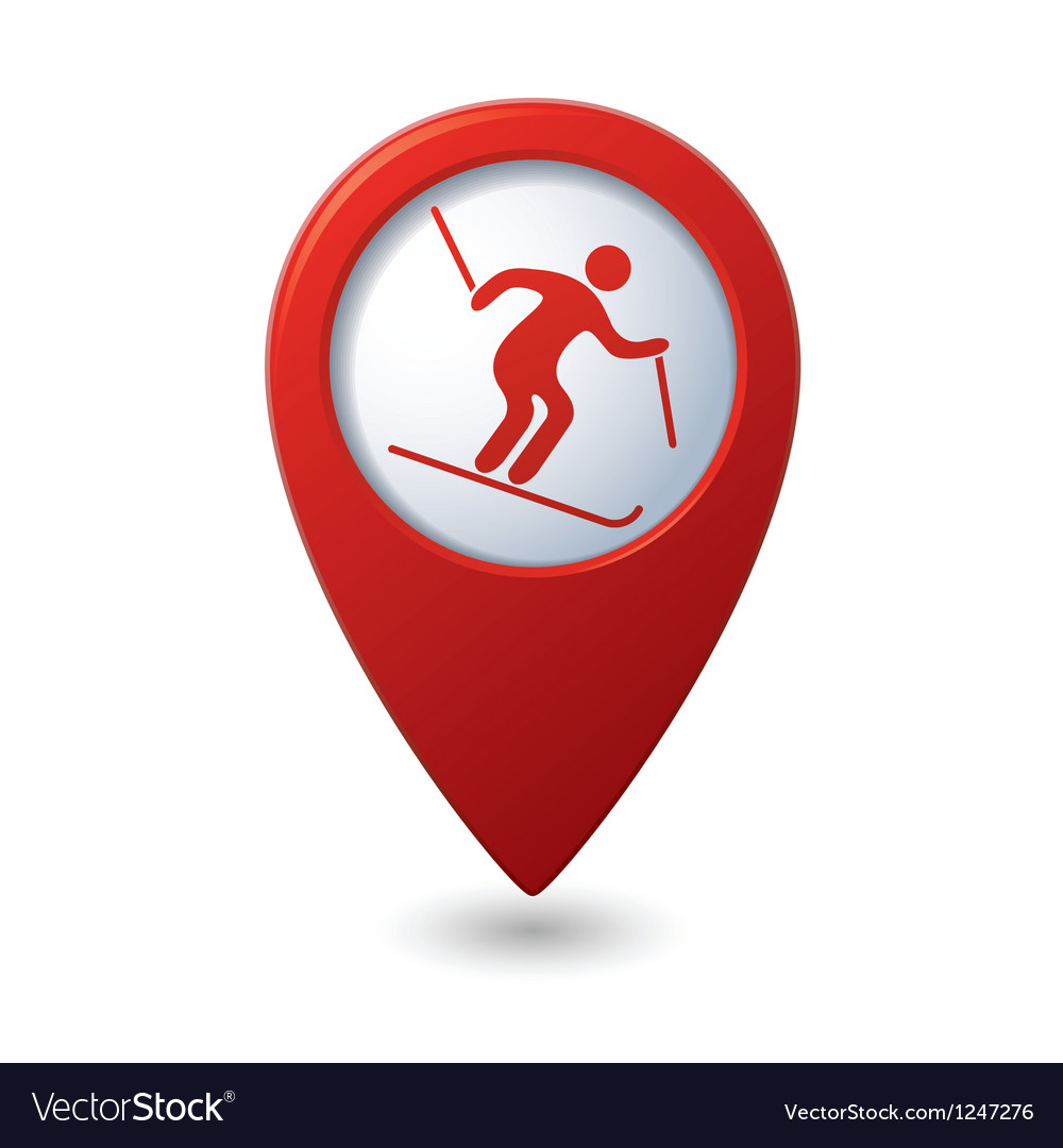 Map pointer with downhill skiing icon vector | Price: 1 Credit (USD $1)