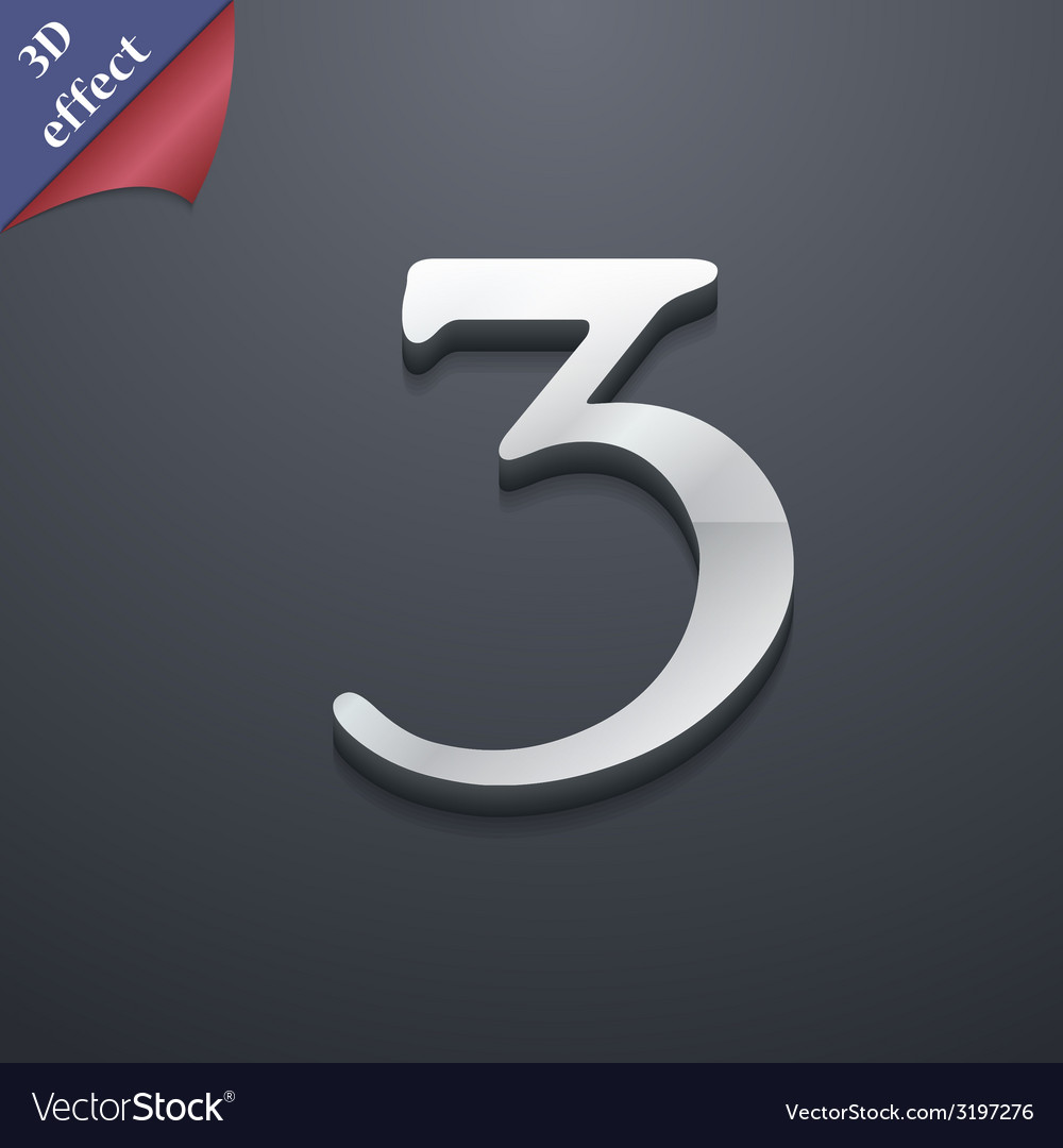 Number three icon symbol 3d style trendy modern vector | Price: 1 Credit (USD $1)