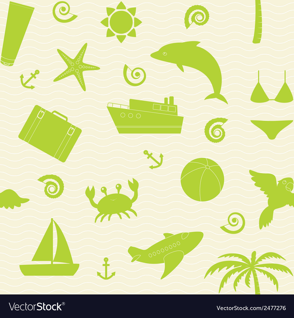 Seamless pattern with travel icons vector | Price: 1 Credit (USD $1)