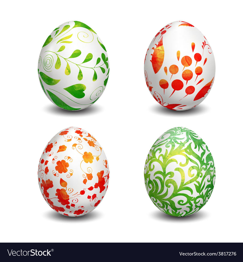 Set of isolated easter eggs watercolor paints vector | Price: 3 Credit (USD $3)