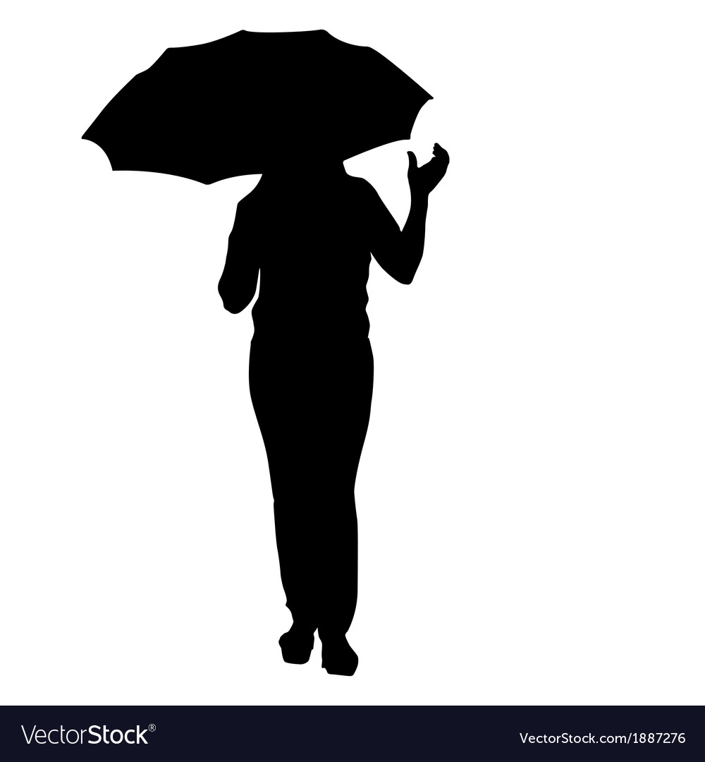 Silhouette of girl with an umbrella vector | Price: 1 Credit (USD $1)