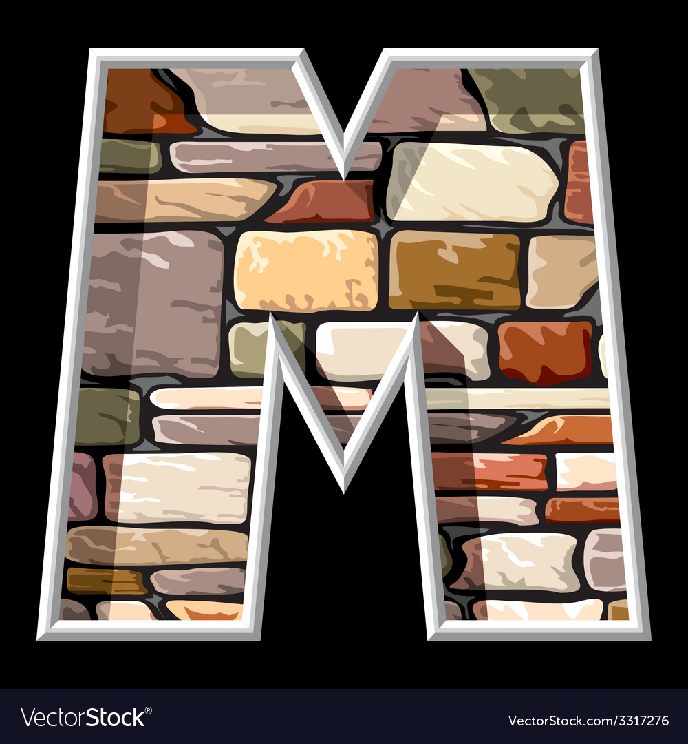 Stone letter m vector | Price: 3 Credit (USD $3)