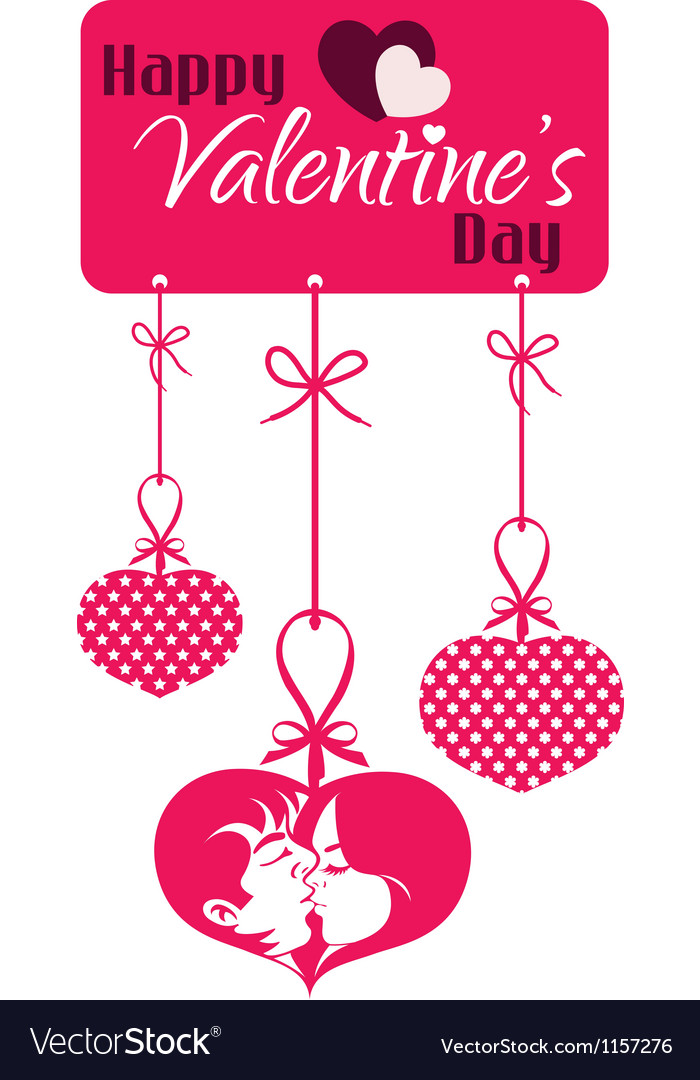 Valentine couple kissing hanging tag vector | Price: 1 Credit (USD $1)