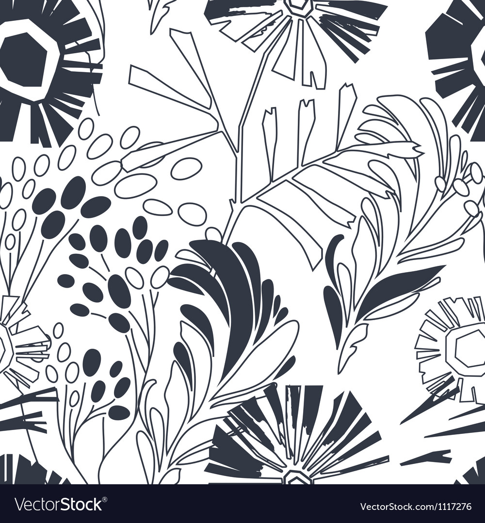 Vintage floral seamless pattern with hand drawn vector | Price: 1 Credit (USD $1)