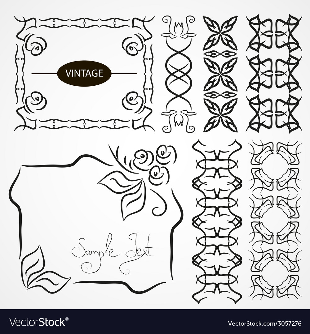 Vintage ornaments and dividers frame vector | Price: 1 Credit (USD $1)