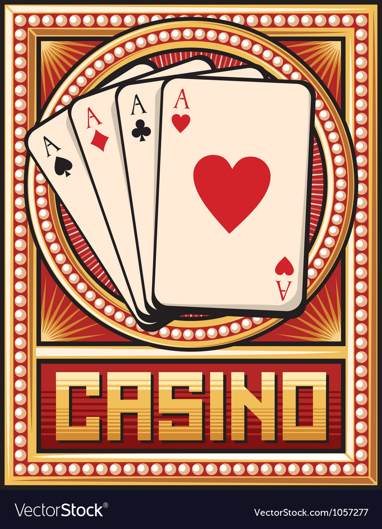 Casino label design - four aces vector | Price: 1 Credit (USD $1)