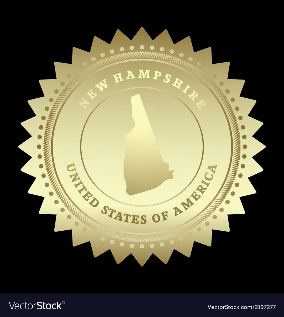 Gold star label new hampshire vector | Price: 1 Credit (USD $1)