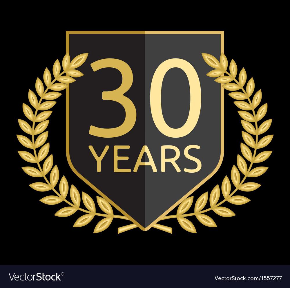 Golden laurel wreath 30 years vector | Price: 1 Credit (USD $1)