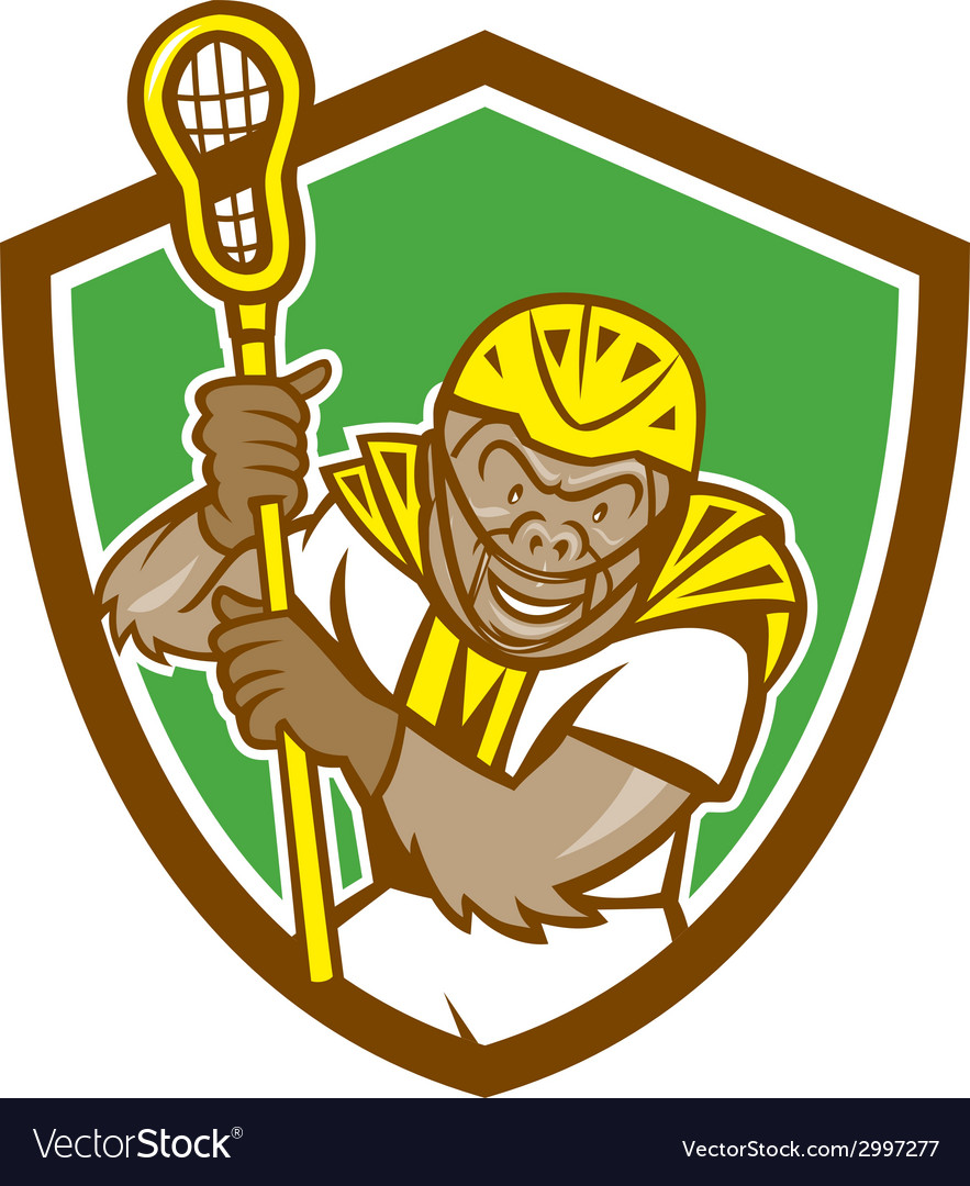 Gorilla lacrosse player shield cartoon vector | Price: 1 Credit (USD $1)
