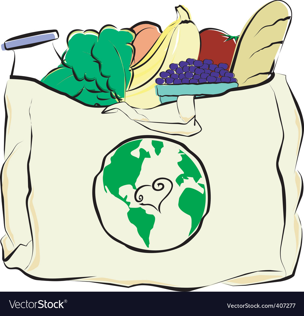 Groceries in a canvas bag vector | Price: 1 Credit (USD $1)