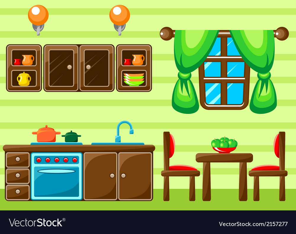 Kitchen interior vector | Price: 1 Credit (USD $1)