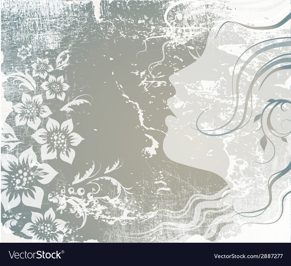 Silhouette of a girl on grunge background vector | Price: 1 Credit (USD $1)