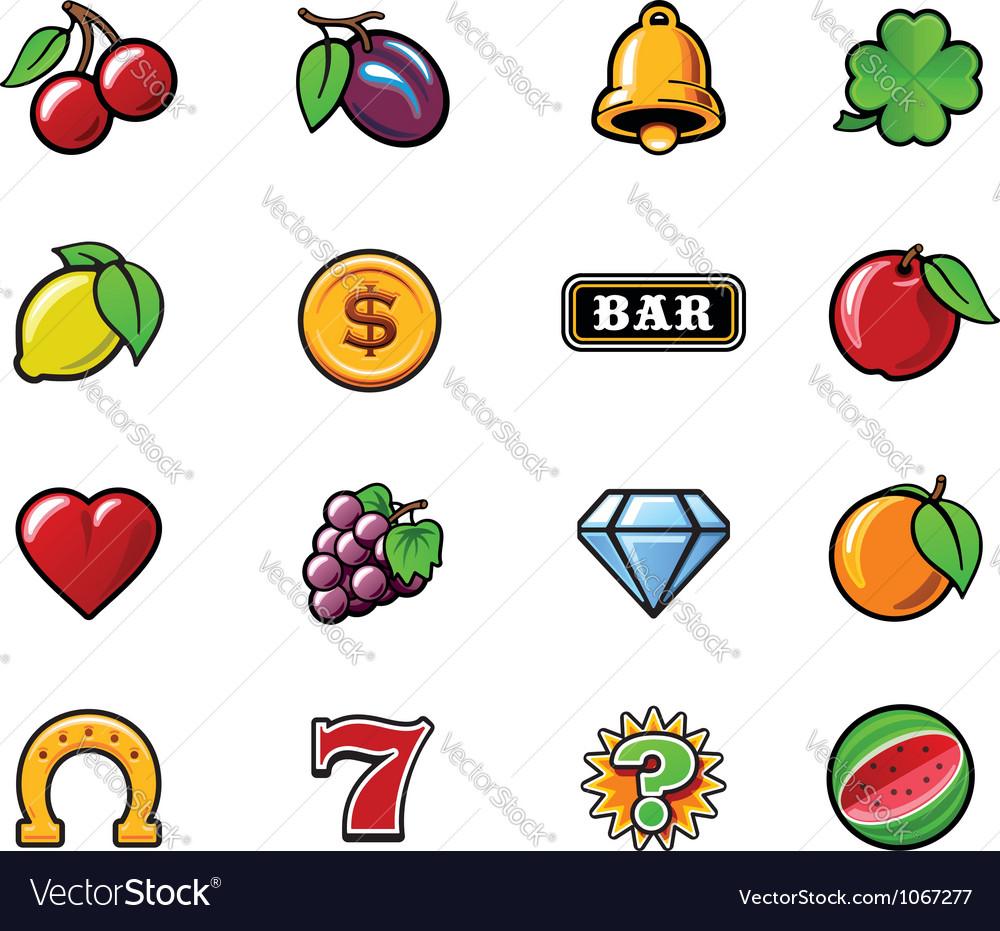 Slot machine symbols set vector | Price: 1 Credit (USD $1)
