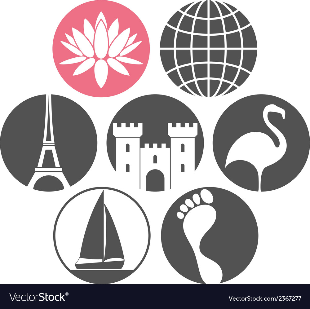Tourism icon set vector | Price: 1 Credit (USD $1)