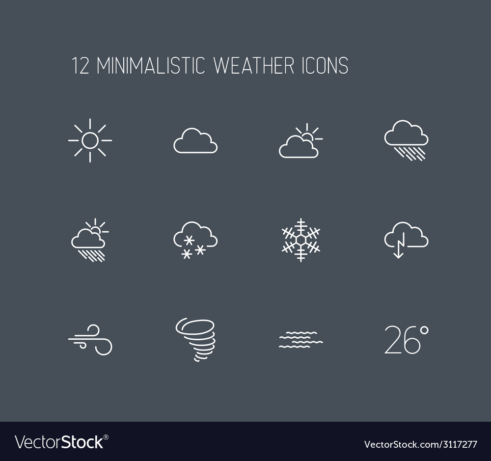 Weather thin line icon set vector   Price: 1 Credit (USD $1)