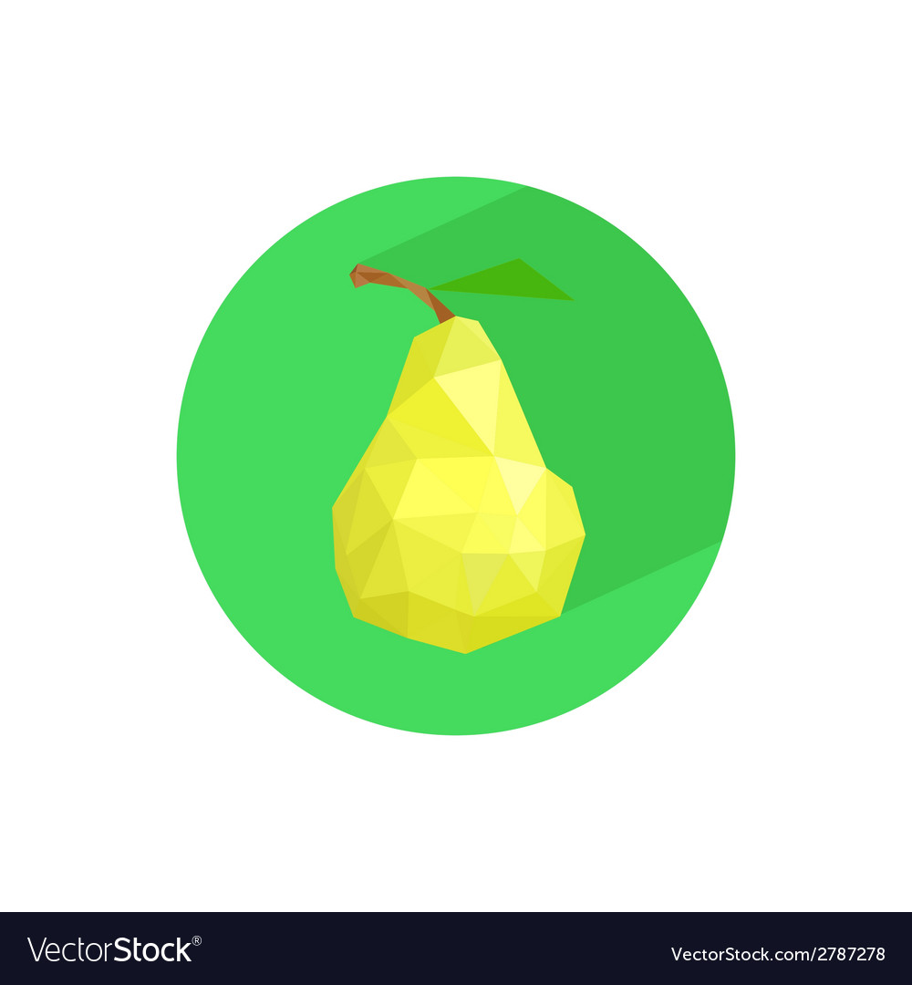 Abstract origami pear on green circle vector | Price: 1 Credit (USD $1)