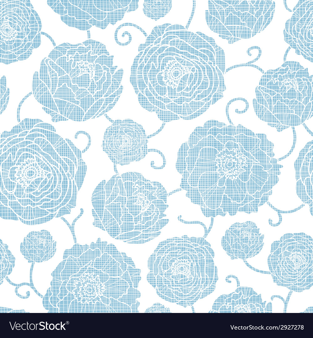 Blue textile peony flowers seamless pattern vector | Price: 1 Credit (USD $1)