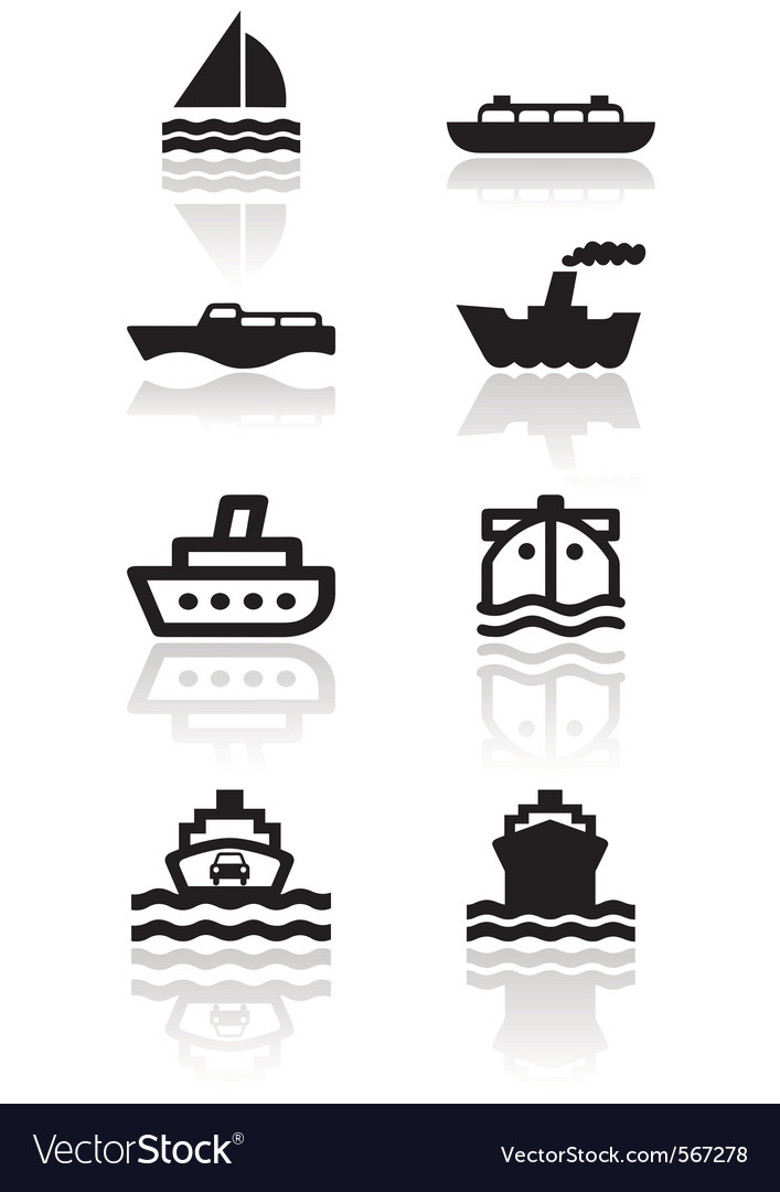 Boat symbol set vector | Price: 1 Credit (USD $1)
