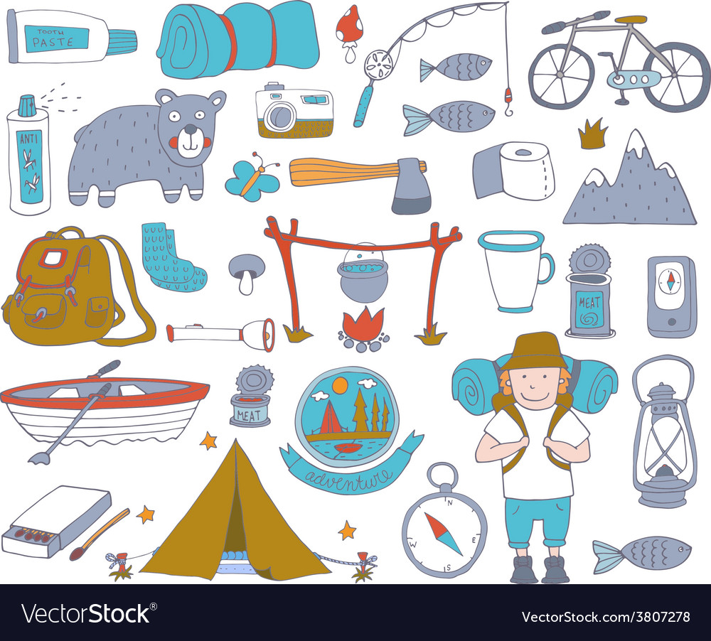 Camping adventure set vector | Price: 1 Credit (USD $1)