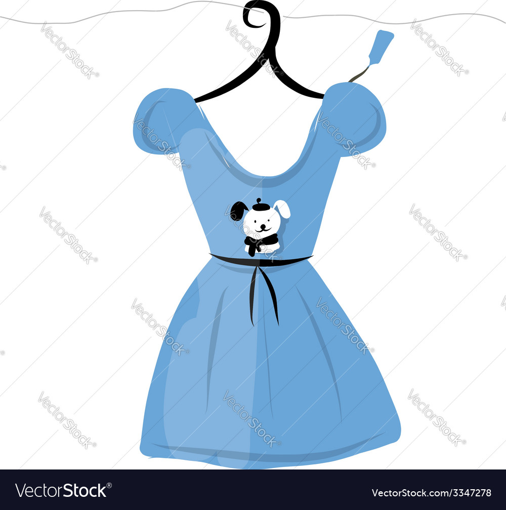 Dress on hangers with funny bear design vector | Price: 1 Credit (USD $1)