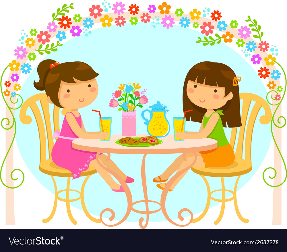 Girls relaxing in the garden vector | Price: 1 Credit (USD $1)