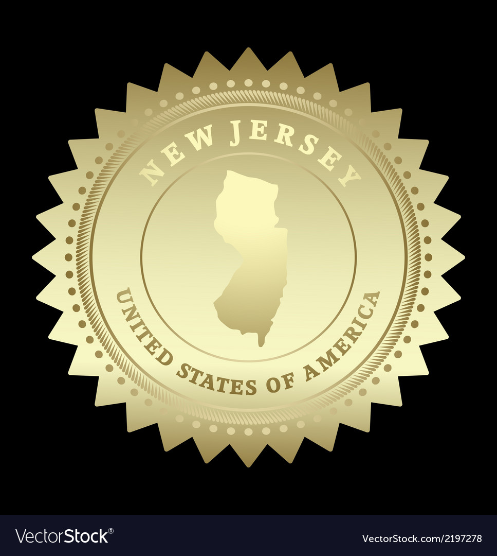 Gold star label new jersey vector | Price: 1 Credit (USD $1)