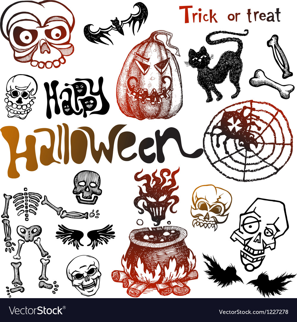 Halloween doodles vector | Price: 1 Credit (USD $1)