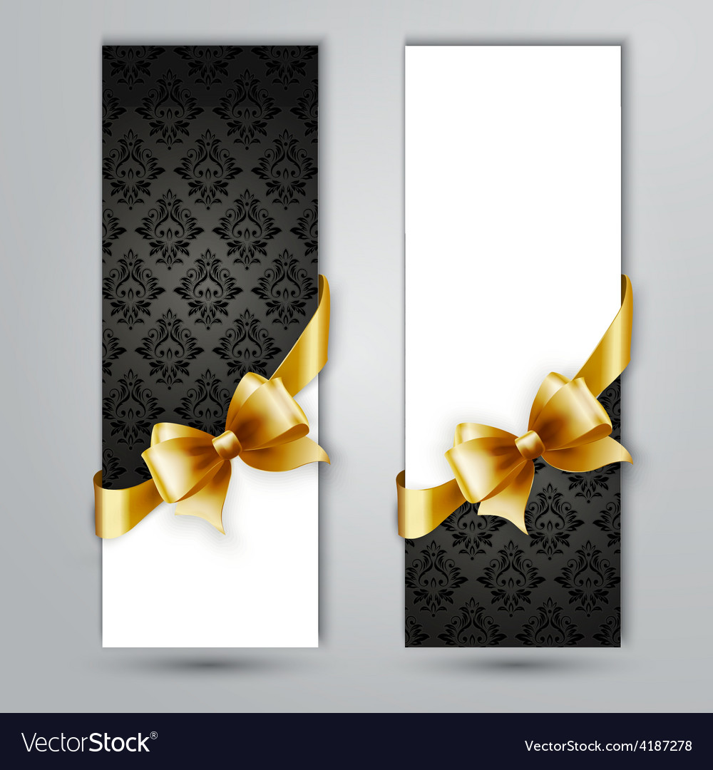 Invitation card with gold holiday ribbon on vector   Price: 3 Credit (USD $3)