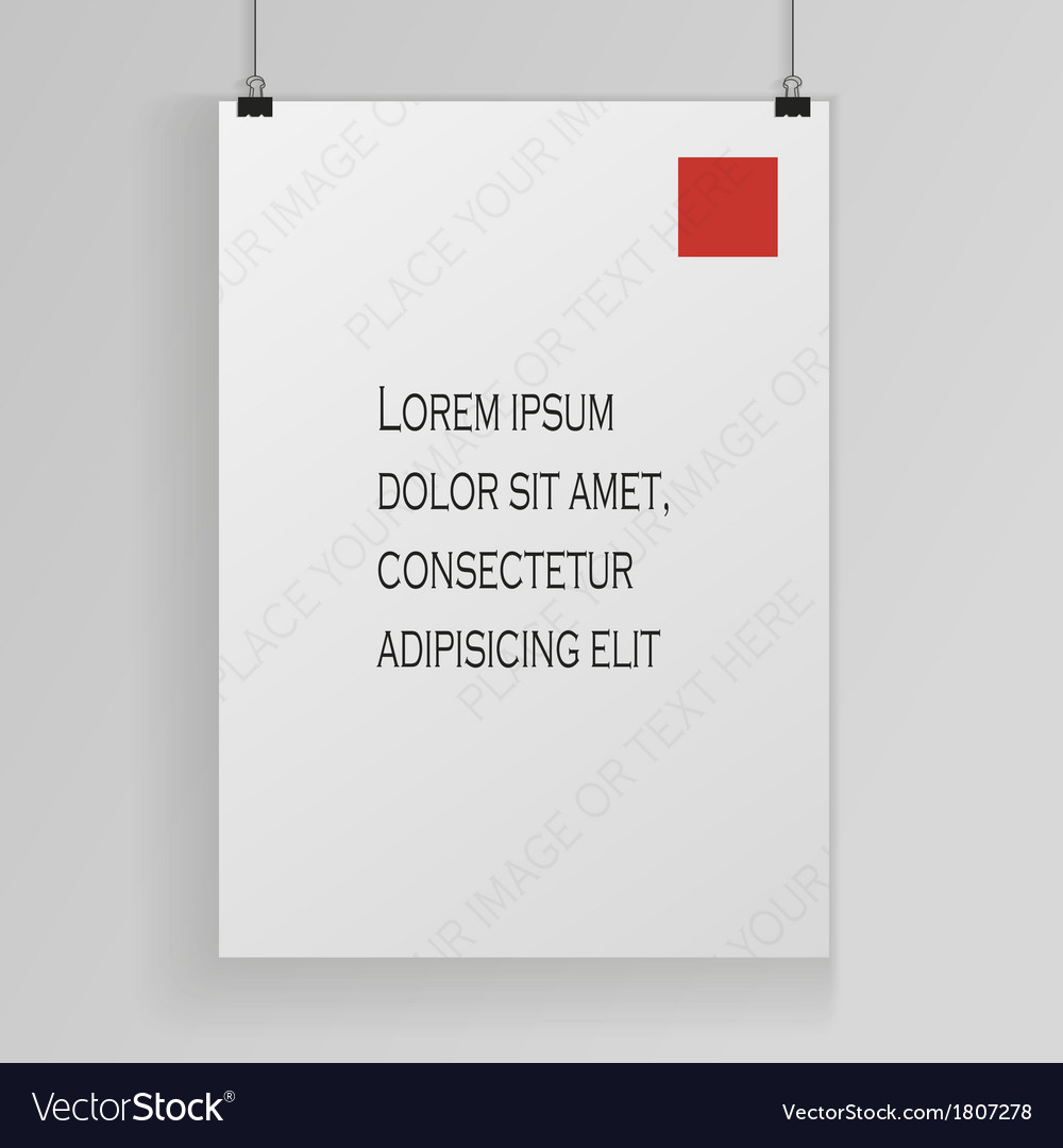 White poster mock up template vector | Price: 1 Credit (USD $1)