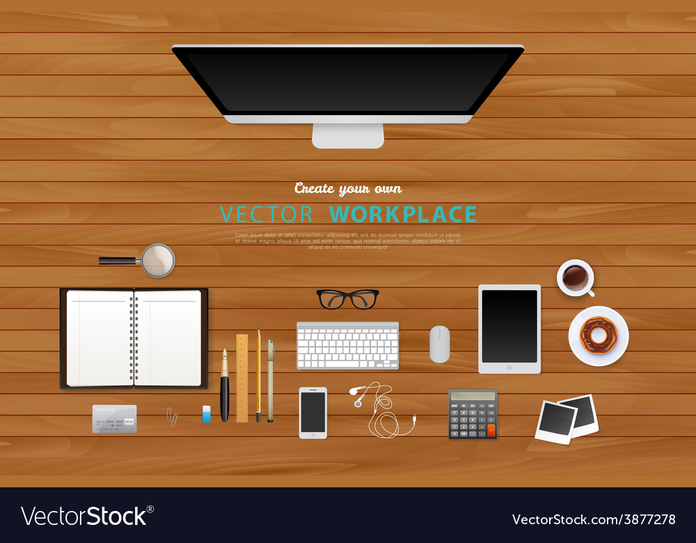 Workplace with isolated objects vector | Price: 1 Credit (USD $1)